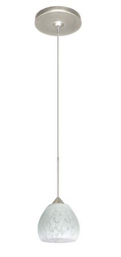 Besa Lighting 1XP-560519-SN Tay 1-Light  12-volt Mini-Pendant, Carrera Art Glass Shade with Satin Nickel Finish ()
