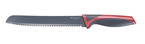 Westmark Non-Stick Bread Knife with Cover, 7.8-inch (Red/Black) 1 GERMAN ENGINEERED HIGH QUALITY KITCHENWARE: Westmark's Bread Knife is among the best in the world and is rated to be one of the best kitchenware brands available today. MATERIAL: Each product is made using a high quality stainless steel blade with a polypropylene handle. Included is a thermoplastic elastomeric knife cover to protect you and your knife. See below for more details. EASY AND READY TO USE: This easy to use product can thoroughly cut through any kind of bread, fruit, vegetable, meat and much more!Equipped with an ergonomic handle, Westmark's product ensures a secure grip making the bread knife efficient and comfortable to use.