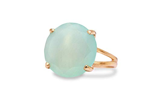 Chalcedony Gold Ring - Anemone Jewelry Lovely Gem Rings for Women - 16MM Round Aqua Chalcedony in 14k Rose Gold-filled Ring - Adorable Gem Rings for Women Available Sizes 3-12.5 [Handmade]
