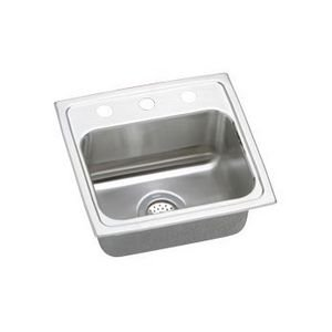 Bowl Quick Clip (Elkay PSRQ1716X 20 Gauge Stainless Steel Single Bowl Top Mount Quick-Clip Kitchen Sink with Brilliant Satin, 17