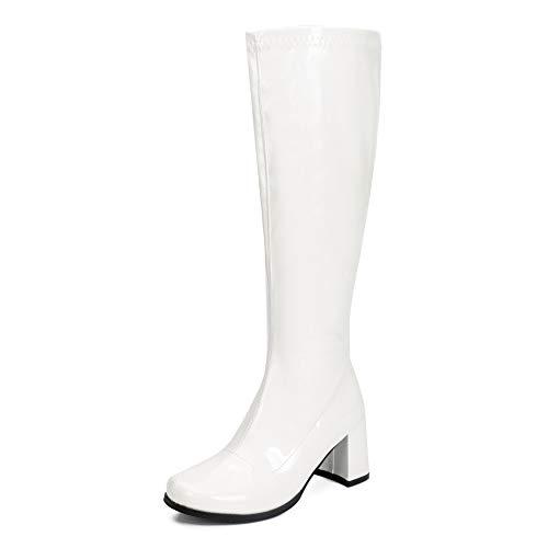 LIURUIJIA Women's Go Go Boots Over The Knee Block Heel Zipper Boot Disco Costumes Dress Shoes White-40(250/US9.5) (Dress Up Women Boots)