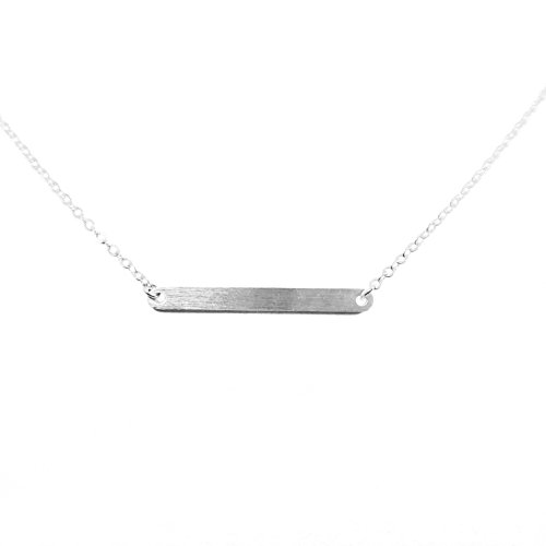 Rounded Bar SILVER Plated Necklace Trendy Dainty Simple Horizontal - Eye Glsses