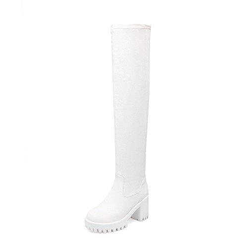 AllhqFashion Mujeres Tacón Alto Sólido Puntera Redonda Material Suave Sin cordones Botas Blanco