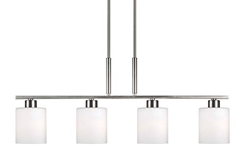 Forte Lighting Nickel Pendant - Forte Lighting 2664-04-55 Signature 4 Light 35 inch Brushed Nickel Island Pendant Ceiling Light