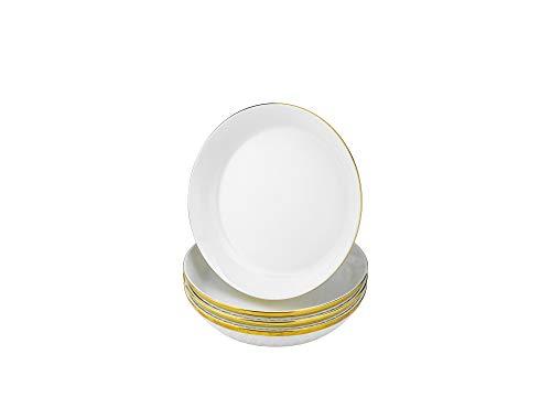 Yedi YCC750, 8-1/2'' Fine Porcelain Soup Plate, Round Ceramic Deep Plate, Bone China Soup Plates w/Gold Rim, Set of 4