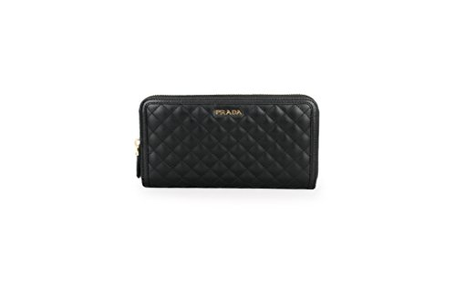 Prada Womens 1ML506 2EZ5 Soft Calf Quilt Wallet Nero (Black)