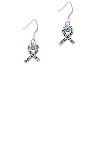 Scroll Ribbon with Light Blue Crystal - French Earrings