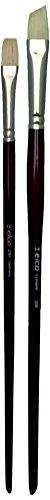 Elco Lighting Pack of 2 Pure Bristle Paint Brush Set Oil Acrylic Painting–Short Flat Size 10Oblique Long Size 14 -