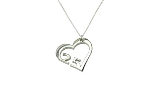 (25 Year Wedding Anniversary Necklace - Heart Shaped with 25 Year Cut Out Design)