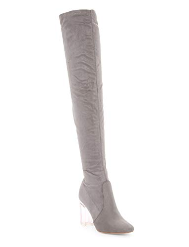 CAPE ROBBIN Fay-2 Over The Knee Stretch Glass Heel Thigh High Boots,Grey Suede,6 ()