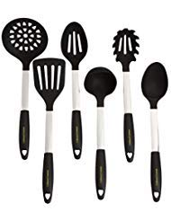 Fork Utensil Nylon Kitchen (Stainless Steel & Silicone Cooking Utensil Set - Heat Resistant Professional Kitchen Tools - Spatula, Mixing & Slotted Spoon, Ladle, Pasta Fork Server, Drainer - Bonus Ebook! (Black))