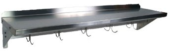 John Boos 18 Gauge Stainless Steel Wall Shelf with Pot Rack, 48 x 12 inch - 1 each. ()