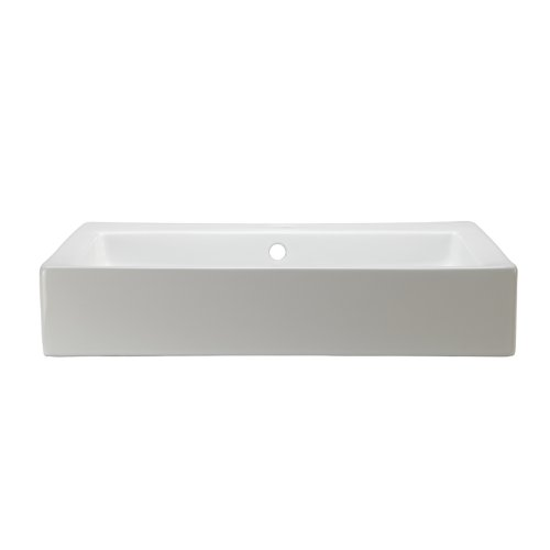 DECOLAV 1444-CWH Tallia Classically Redefined Rectangular Vitreous China Above-Counter Lavatory Sink, White - Double Bathroom Sink