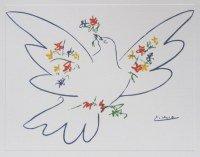 Kunstdruck  Poster Pablo Picasso  Taube mit Blumen  400 x 500