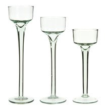 DT 24 Piece Long-Stem Glass Tea Light Candleholders