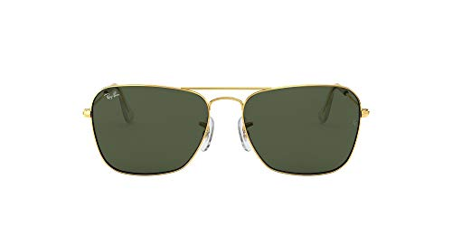 Ray-Ban RB3136 Caravan Square Sunglasses, Arista Gold/Green, 58 mm