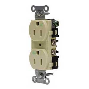 Hubbell Wiring BR20WR Hubbell-Pro Traditional Specification Grade Weather Resistant Straight Blade Duplex Receptacle 2-Pole 3-Wire 20 Amp 125 Volt 5-20R NEMA Screw Mount Brown