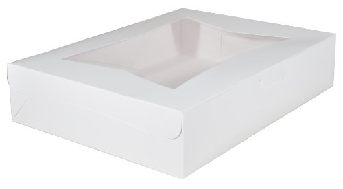 Southern Champion Tray 23133 Paperboard White Lock Corner Window Bakery Box, 19