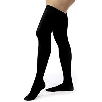 BSN Medical 114827 Jobst Relief Stocking, Thigh High with Silicone, 15-20 mmHg, Closed Toe, Black, Medium
