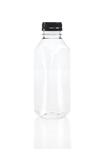 Clear Plastic Bottle - Clear Food Grade Plastic Juice Bottles 16 Oz (Pint) with Cap (6)