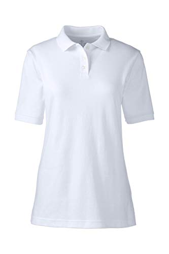 Lands' End School Uniform Women's Short Sleeve Interlock Polo Shirt White