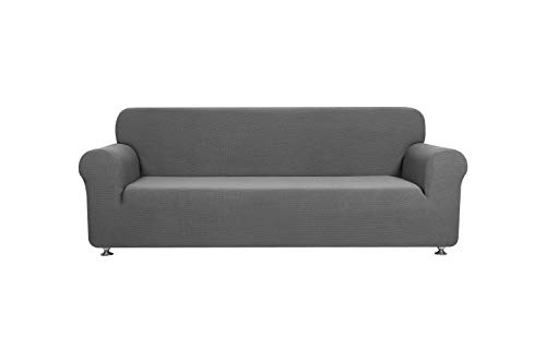 Mk Collection 2 pc Set Slipcover Stretch to Fit Couch/sofa Love Seat Cover Solid Grey New ()