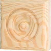 WADDELL MANUFACTURING RTB-35 Rosette Trim Pine Block Molding, 3.75 x 3.75 x 1