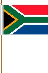 South Africa Small 4 X 6 Inch Mini Country Stick Flag Banner with 10 Inch Plastic Pole .. Great Quality Polyester ... New