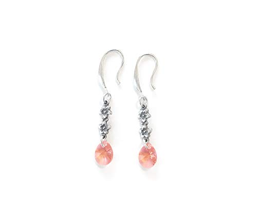 (Handmade Light Coral Crystal Drop Earrings - with tiny babys breath floral connectors - so pretty! Sterling silver plated)
