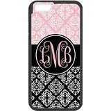 Price comparison product image iPhone 6 & 6S Plus (5.5inch) Snap On Cover Case & Dust Plug for , White Plaid Pattern on The Black and Pink Background Palace Style White Monogram Wide Black Stripe Design Custom Initials , (Black)