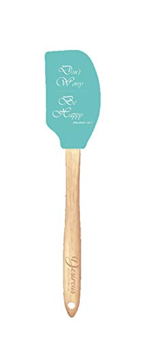 Silicone Inspirational Spatula with Bible Verse Reference, Teal and White (Don't Worry Be Happy)