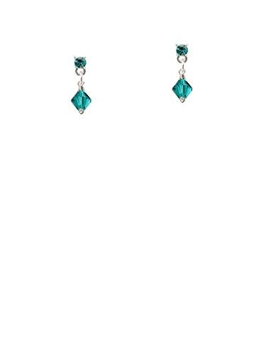 (December - Teal - 6mm Crystal Bicone Teal Crystal Post Earrings)