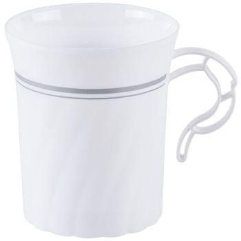 Masterpiece Plastic 8oz Coffee Cups, White w/Silver Rim 8 Per Pack