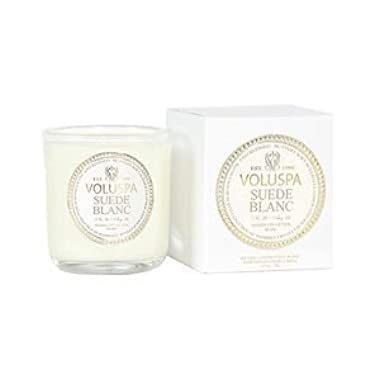 Voluspa Classic Boxed Votive, Suede Blanc, 3 oz