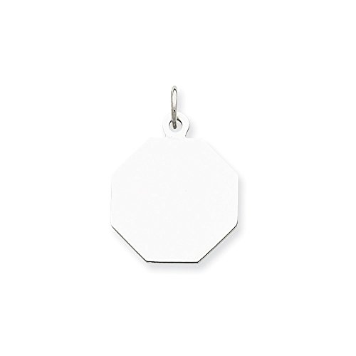 Sterling Silver Engravable Octagon Disc Charm (20 x 16mm)