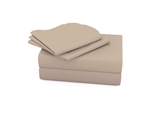 (TRANQUIL NIGHTS 1000 Thread Count 100% Supima Cotton Sheet- Taupe Queen, 4-Piece Set, Long Staple Combed Compact Cotton, Sateen, Z Hem, Ultra Soft & Shine, Fits Mattress Upto 20