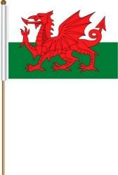 Wales Cymru Large 12 X 18 Inch Country Stick Flag Banner on a 2 Foot Wooden Stick .. Great Quality Polyester ... New