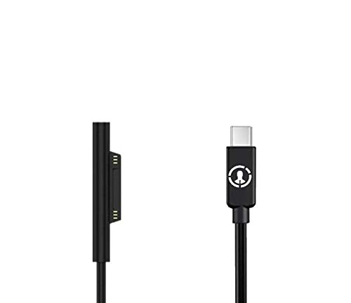 J-Go Tech 15V Surface Connect to USB-C Cable | Works with 45W USB C PD Chargers | Charges Microsoft Surface Pro 6 Pro 5 Pro 4 Pro 3, Surface Book, Surface Go, Surface Laptop