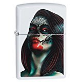 Zippo Day of The Dead Lady Tattoo Pocket Lighter, White Matte