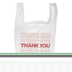 ** ''Thank You'' Handled T-Shirt Bags, 11 1/2 x 21, Polyethylene, White, 900/Carton **