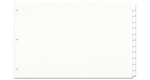 Ruby 2 Hole - 11x17 2-Tab Index Dividers Set, Standard Length with Holes, White (590808)