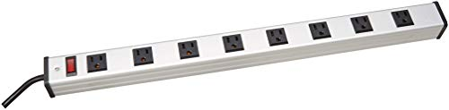 V7 PWS2308-1N 8-Outlet Horizontal Industrial Metal Power Strip 125V, 15A, 12-ft. Cord, ()