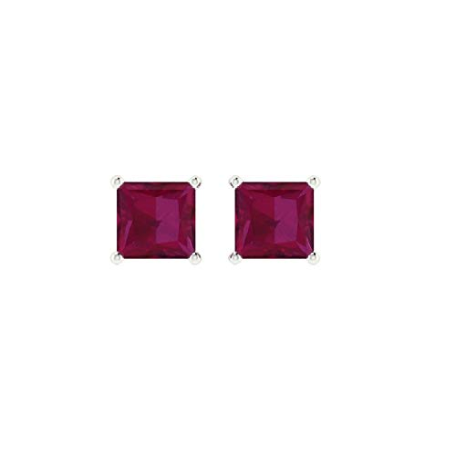 Euforia Jewels 14K White Gold Top Quality Natural Ruby 3 MM Square Cut Stud Earrings With Silver Sillicon Post For Women (Ruby Cut Square)
