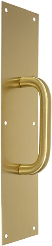 Rockwood 106 X 70C.4 Brass Pull Plate, 16'' Height x 4'' Width x 0.050'' Thick, 6'' Center-to-Center Handle Length, 3/4'' Pull Diameter, Satin Clear Coated Finish by Rockwood