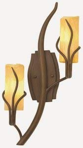 Kalco 4764GW/SNOW Napa - Two Light Right Vertical Wall Mount, Golden Wheat Finish