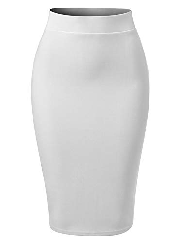 MixMatchy Women's Solid Techno Scuba Bodycon Pencil Skirt with Back Slit White S
