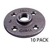 Black Floor Flange Pipe Fitting, 1/2 Inch, 10 Pack