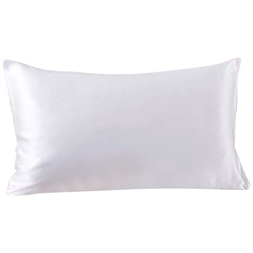 SLPBABY 100 Natural Pure Silk Pillowcase for Hair and Skin Both Side 19 Momme Silk Luxury Smooth Satin Pillowcase Cover with Hidden Zipper Standard White