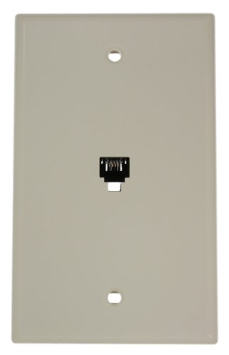 Leviton 40249-T Standard Telephone Wall Jack, 6P4C, Screw Terminals, Light Almond (Telephone Outlet)