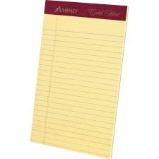 Ampad 20029 Gold Fibre Writing Pads, Jr. Legal Rule, 5 x 8, Canary, 50 Sheets, 4/Pack